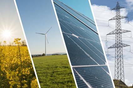 Ökostrom Produktion über Sonne, Wind und Wasser